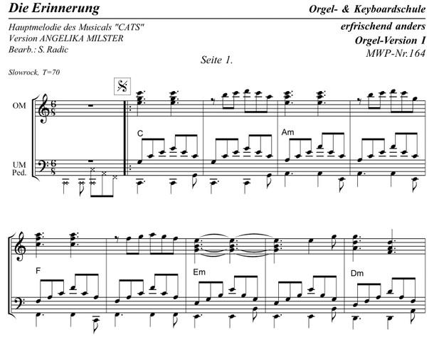 MWP-Nr.164. * Die Erinnerung * Orgel-Vers. I